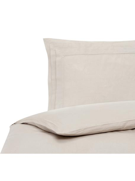 Pościel z lnu z efektem sprania Helena, Pół len (52% len, 48% bawełna) Z efektem stonewash zapewniającym miękkość w dotyku, Beżowy, 135 x 200 cm