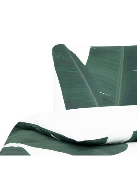 Pościel z perkalu Banana, Przód: odcienie zielonego, biały Tył: biały, gładki, 135 x 200 cm