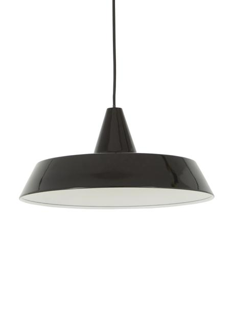 Lámpara de techo Jubilee, estilo escandinavo, Pantalla: acero pintado, Anclaje: plástico, Cable: cubierto en tela, Negro, Ø 40 x Al 20 cm