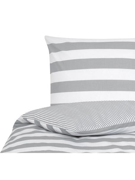 Parure copripiumino reversibile in cotone ranforce Lorena, Tessuto: Renforcé, Bianco, grigio chiaro, 155 x 200 cm