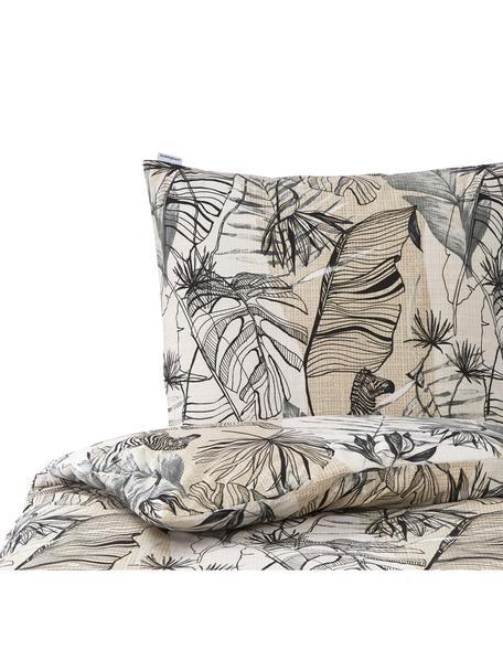 Baumwoll-Bettwäsche Bambusa mit Blätterprint, 100% Baumwolle  Fadendichte 144 TC, Standard Qualität  Bettwäsche aus Baumwolle fühlt sich auf der Haut angenehm weich an, nimmt Feuchtigkeit gut auf und eignet sich für Allergiker, Beige, Sandfarben, Schwarz, 135 x 200 cm + 1 Kissen 80 x 80 cm