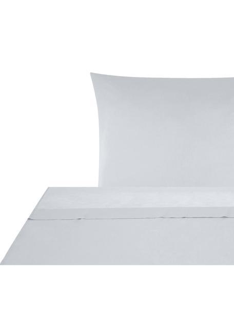 Set lenzuola in raso di cotone Comfort, Tessuto: raso Densità del filo 250, Grigio chiaro, 150 x 300 cm