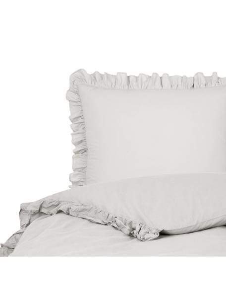 Gewassen katoenen dekbedovertrek Florence met franjes, Weeftechniek: perkal Draaddichtheid 180, Lichtgrijs, 140 x 200 cm