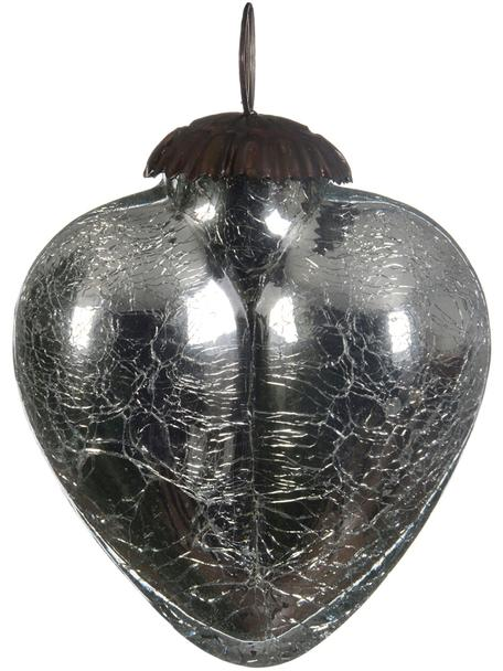 Baumanhänger Craquele, Glas, Silbergrau, Ø 8 cm