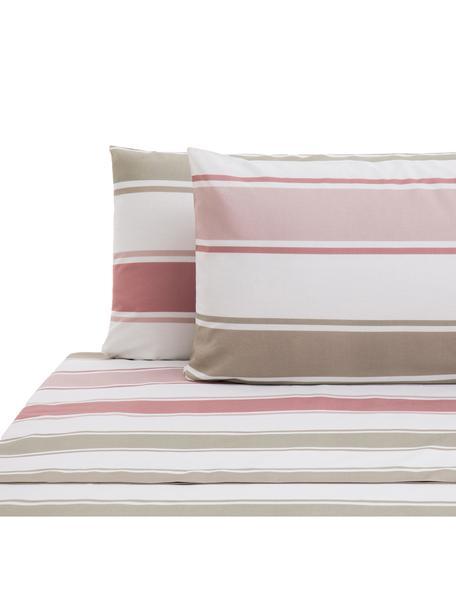 Set lenzuola in cotone Cappo, Cotone, Rosso, rosa, verde oliva, marrone chiaro, bianco, 240 x 270 cm
