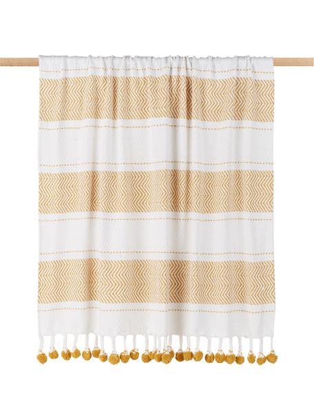 Manta de algodón Pom Pom, 100%algodón, Blanco crudo, amarillo miel, An 130 x L 170 cm
