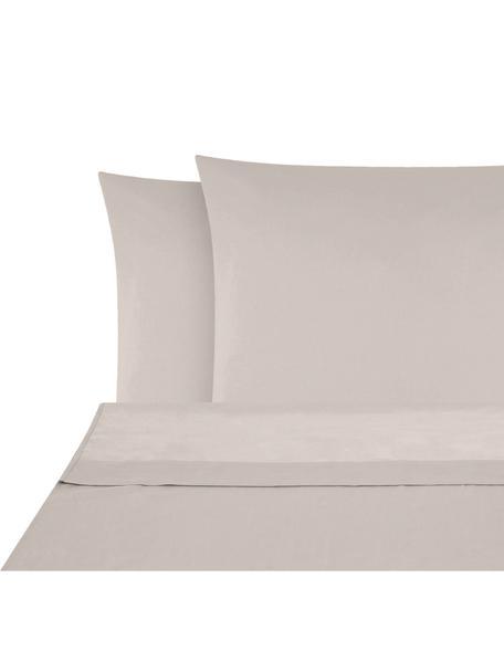 Set lenzuola in raso di cotone Comfort, Tessuto: raso Densità del filo 250, Taupe, 240 x 300 cm