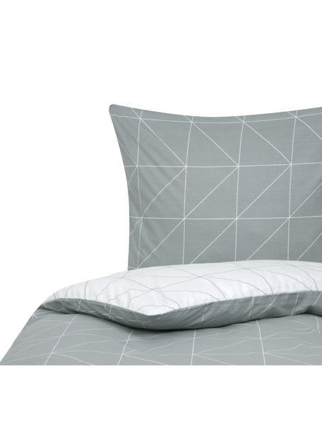 Baumwoll-Wendebettwäsche Marla mit grafischem Muster, Webart: Renforcé Fadendichte 144 , Grau, Weiss, 135 x 200 cm + 1 Kissen 80 x 80 cm