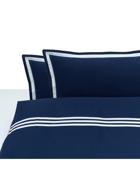 Completo copripiumino in cotone Hilton, Cotone, Blu,bianco, 200 x 255 cm