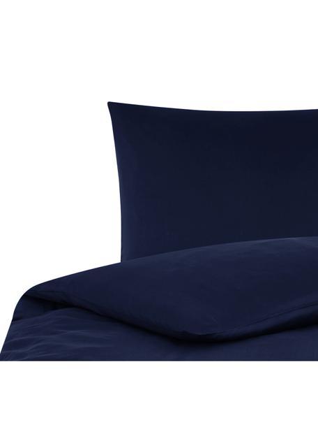 Katoensatijnen dekbedovertrek Comfort, Weeftechniek: satijn, licht glanzend, Donkerblauw, 140 x 200 cm