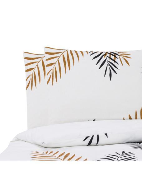 Parure copripiumino reversibile in cotone Foliage, Cotone, Nero, giallo ocra, bianco, 200 x 200 cm