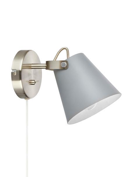 Wandleuchte Tribe mit Stecker, Lampenschirm: Stahl, pulverbeschichtet, Gestell: Stahl, gebürstet, Grau, 14 x 20 cm