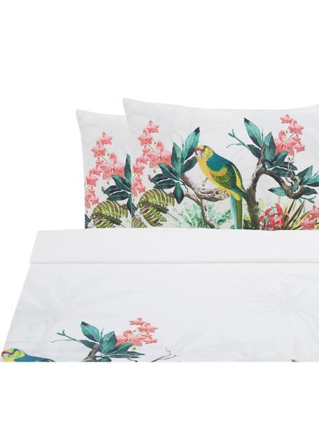 Set lenzuola in cotone ranforce Tropic, Tessuto: ranforce, Bianco, multicolore, 240 x 270 cm