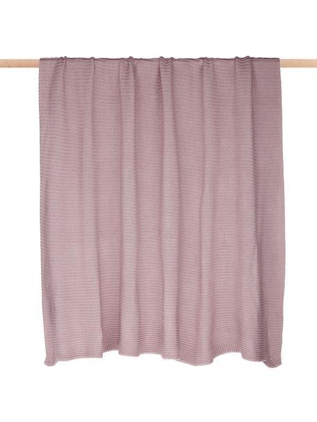 Plaid fatto a maglia Adalyn, 100% cotone, Rosa cipria, Larg. 150 x Lung. 200 cm