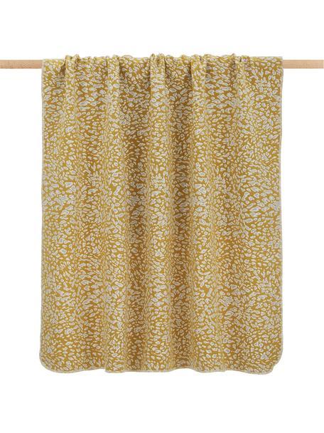 Plaid con motivo leopardato giallo/bianco Leopardo, Giallo senape, bianco, Larg. 140 x  Lung.180 cm