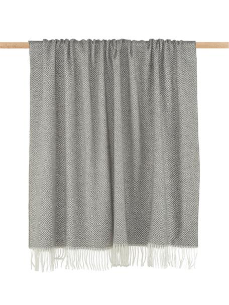 Plaid in lana merino con motivo grafico Alison, 80% lana merino, 20% nylon, Bianco latteo, grigio chiaro, Larg. 140 x Lung. 200 cm