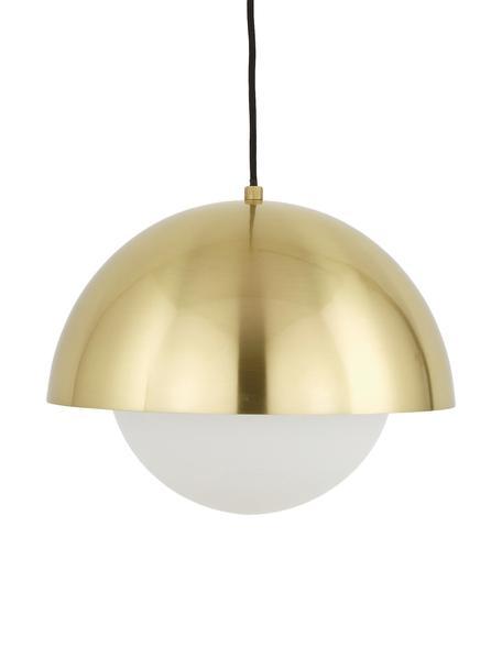 Pendelleuchte Lucille mit Opalglas, Baldachin: Metall, gebürstet, Lampenschirm: Glas, Messing, Weiß, Ø 35 x H 30 cm
