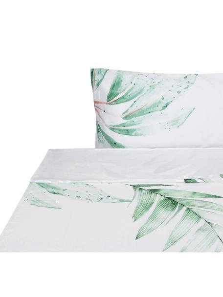 Sábana encimera Delicate, Algodón, Blanco, verde, rosa, Cama 90 cm (160 x 270 cm)