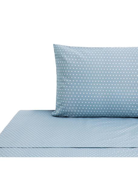 Set lenzuola in cotone Perun, Cotone, Blu, bianco, 160 x 200 cm
