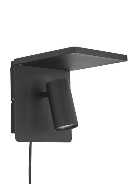 Wandstrahler Chandler mit Ladefunktion und Stecker, Lampenschirm: Metall, pulverbeschichtet, Schwarz, 19 x 21 cm