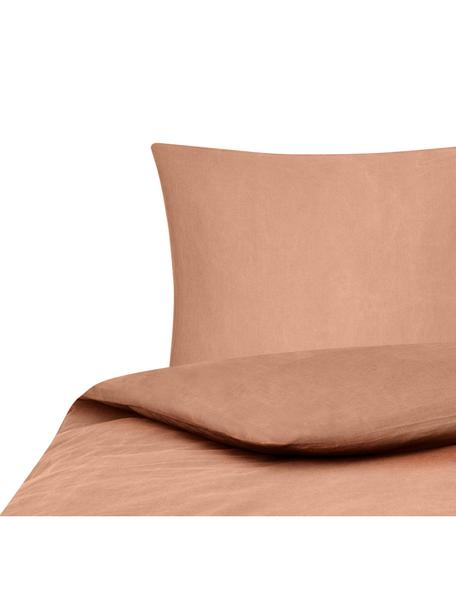 Gewaschene Baumwoll-Bettwäsche Arlene in Apricot, Webart: Renforcé Fadendichte 144 , Apricot, 135 x 200 cm + 1 Kissen 80 x 80 cm