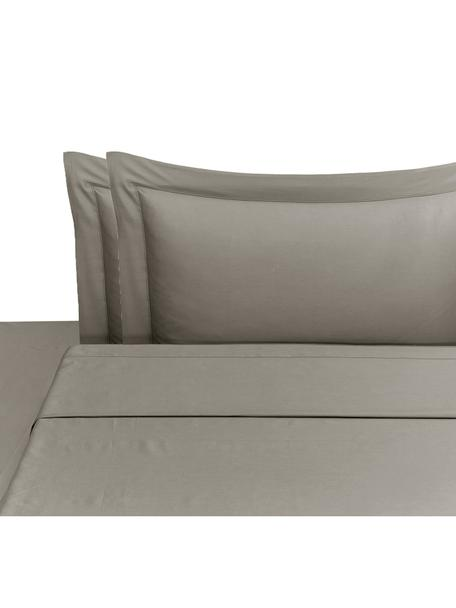 Set lenzuola in raso di cotone Cleo, Taupe, 260 x 295 cm