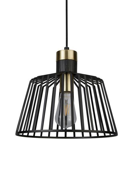 Lampada a sospensione Bird Cage, Metallo rivestito, Nero, dorato, Ø 30 x Alt. 27 cm