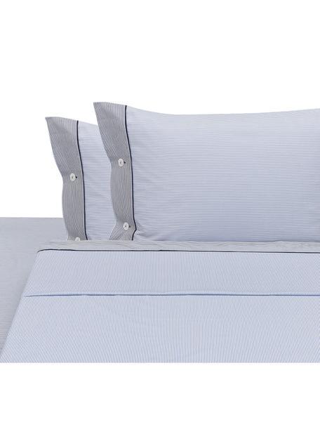 Set lenzuola in cotone Polsino 4 pz, Bianco, blu, blu scuro, 260 x 295 cm