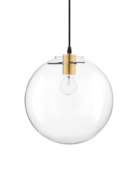Kleine Pendelleuchte Mirale mit Glasschirm, Lampenschirm: Glas, Baldachin: Kunststoff, Messingfarben, Transparent, Ø 25 cm x H 26 cm