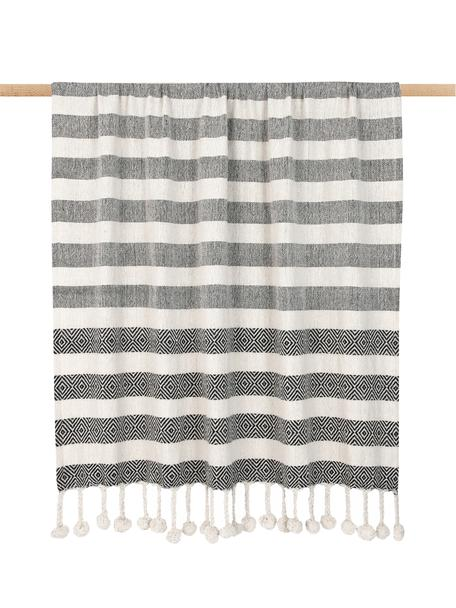 Bawełniany pled z pomponami Maggie, 100% bawełna, Czarny, beżowy, S 130 x D 170 cm