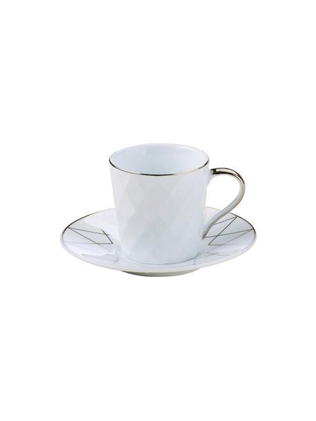 Espressokopjes met schoteltjes Lux met zilveren decoratie, 3 stuks, Porselein, Wit, platinakleurig, Ø 12 x H 6 cm
