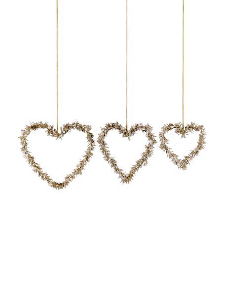 Decoratieve hangersset Lovely, 3-delig, Polystyreen, kunststof, metaal, hout, Goudkleurig, Set met verschillende formaten