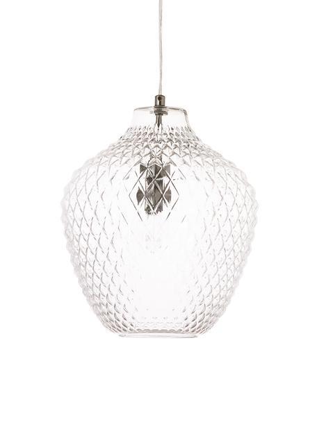 Kleine Pendelleuchte Lee aus Glas, Lampenschirm: Glas, Baldachin: Metall, verchromt, Transparent, Chrom, Ø 27 cm x H 33 cm