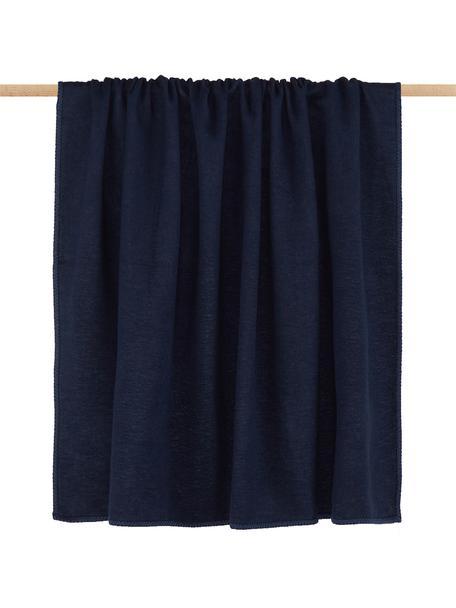 Manta de tela polar Sylt, Azul marino, An 140 x L 200 cm
