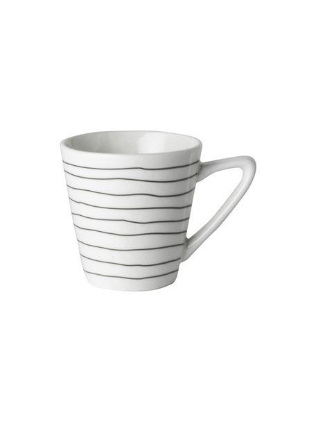 Espressokopjes Eris Loft met lijnversiering, 4 stuks, Porselein, Wit, zwart, Ø 6 x H 6 cm
