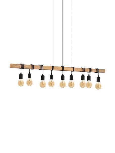 Große Pendelleuchte Townshend, Schwarz, Holz, 150 x 110 cm