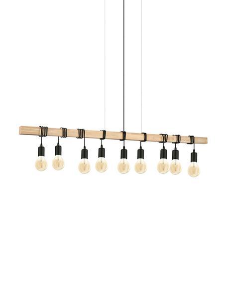 Große Pendelleuchte Townshend aus Holz, Schwarz, Holz, 150 x 110 cm