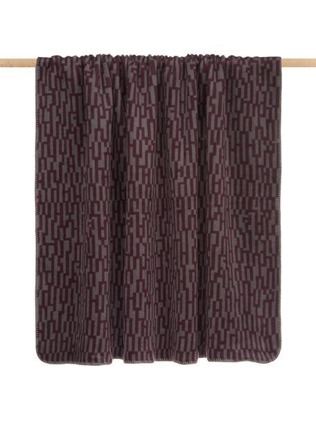 Plaid Abstract, 50% cotone, 43% poliacrilico (dralon®), 7% poliestere, Viola, grigio, Larg. 150 x Lung. 200 cm