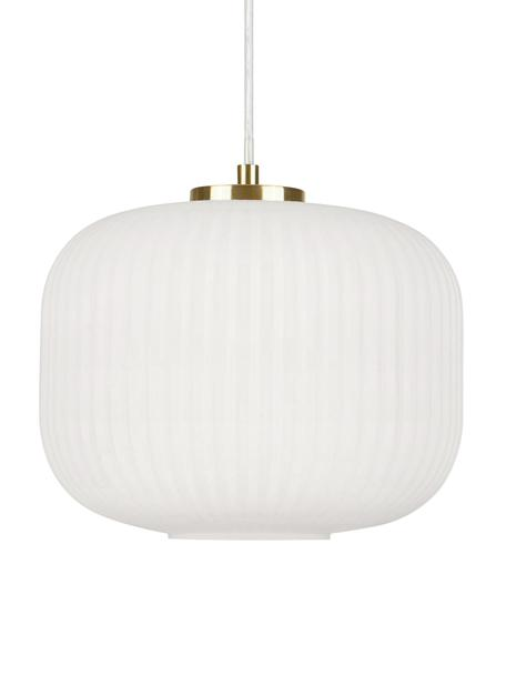 Kleine hanglamp Sober met glazen lampenkap, Lampenkap: glas, Baldakijn: geborsteld metaal, Decoratie: geborsteld metaal, Wit, Ø 25 x H 22 cm