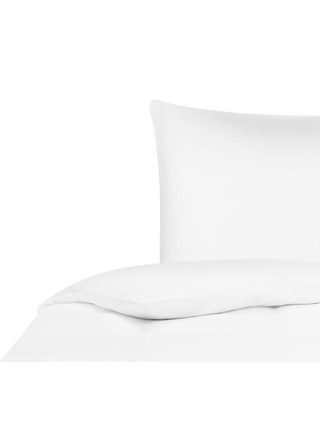 Bambus-Bettwäsche Skye in Weiss, 55% Bambus, 45% Baumwolle Fadendichte 400 TC, Premium Qualität Bambus ist hypoallergen und antibakteriell. Daher eignet das Material sich hervorragend für empfindliche Haut. Es ist amungsaktiv und absorbiert Feuchtigkeit, um so die Körpertemperatur im Schlaf zu regulieren., Weiss, 135 x 200 cm + 1 Kissen 80 x 80 cm