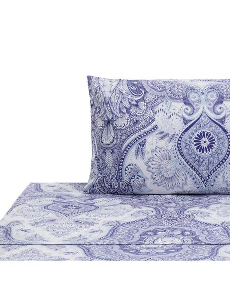 Set lenzuola in cotone Lato, Cotone, Tonalità blu, bianco, 160 x 270 cm