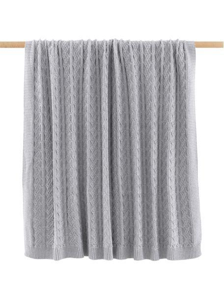 Plaid fatto a maglia con motivo a trecce Caleb, 100% cotone, Grigio, Larg. 130 x Lung. 170 cm