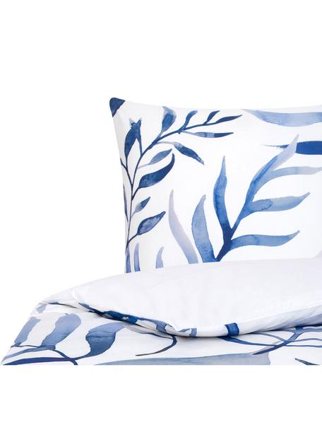 Baumwollperkal-Bettwäsche Francine mit Blattmuster, Webart: Perkal Fadendichte 180 TC, Vorderseite: Blau, WeißRückseite: Weiß, 135 x 200 cm + 1 Kissen 80 x 80 cm