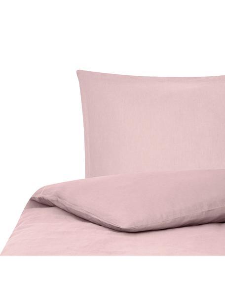 Gewaschene Leinen-Bettwäsche Nature in Rosa, Halbleinen (52% Leinen, 48% Baumwolle)  Fadendichte 108 TC, Standard Qualität  Halbleinen hat von Natur aus einen kernigen Griff und einen natürlichen Knitterlook, der durch den Stonewash-Effekt verstärkt wird. Es absorbiert bis zu 35% Luftfeuchtigkeit, trocknet sehr schnell und wirkt in Sommernächten angenehm kühlend. Die hohe Reißfestigkeit macht Halbleinen scheuerfest und strapazierfähig., Rosa, 135 x 200 cm + 1 Kissen 80 x 80 cm