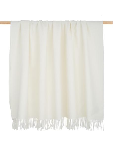 Lekki koc z wełny z młodych alpak Luxury, Beżowy, biały, S 130 cm x D 200
