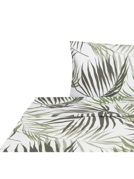 Sábana encimera Aires, Algodón, Blanco, tonos verdes, Cama 90 cm (160 x 270 cm)