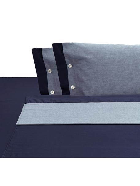 Set lenzuola in raso di cotone Charme, Raso di cotone, Blu, grigio blu, 250 x 290 cm