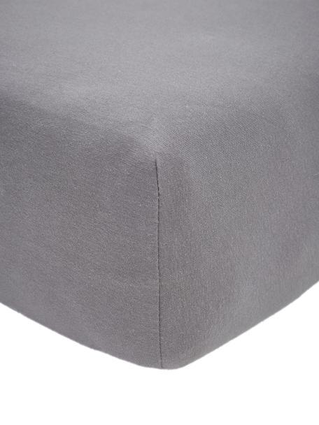 Topper hoeslaken Lara in donkergrijs, jersey-elastaan, 95% katoen, 5% elastaan, Donkergrijs, 90 x 200 cm