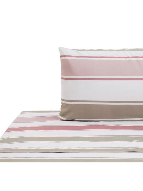 Set lenzuola in cotone Cappo, Cotone, Rosso, rosa, verde oliva, marrone chiaro, bianco, 160 x 270 cm