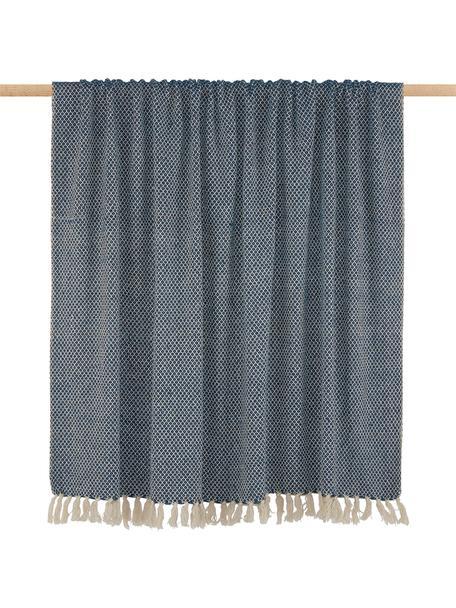 Manta con flecos Thea, 58%algodón,22%poliéster, 12%acrílico,4%Rayon,4%nylon, Azul marino, beige claro, An 140 x L 170 cm